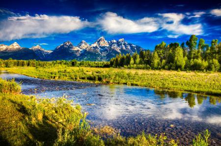 Обои горы, река, лес