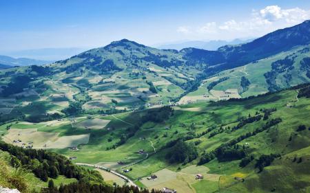 Обои долина, деревушка, деревня, пригород