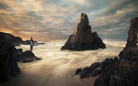 Картинки океан, скала, волны, облака