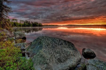 Фото река, закат, лес, камни