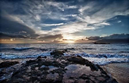 Обои море, волны, берег, закат