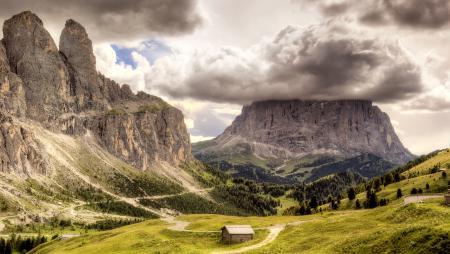 Обои долина, горы, скала, облако