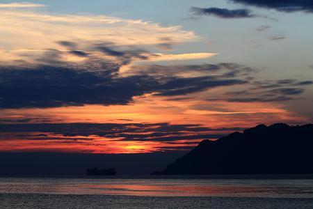Картинки море, небо, закат, корабль