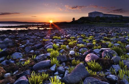 Заставки берег, камни, трава, солнце