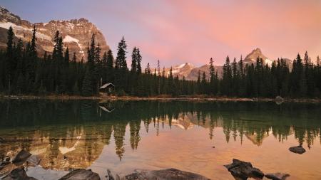 Заставки рассвет, горы, озеро, домик