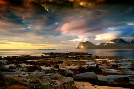 Картинки горы, небо, облака, море