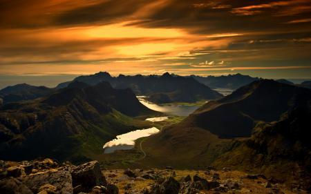 Заставки закат, небо, горы, залив