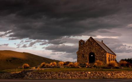 Фото церквушка, храм, вид, холмы