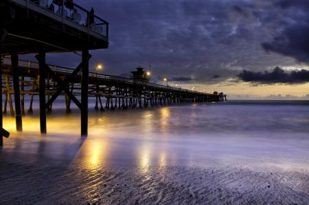 Картинки вечер, море, берег, огни