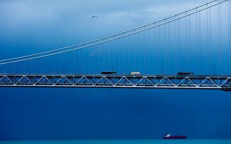 Заставки река, корабль, мост, машины