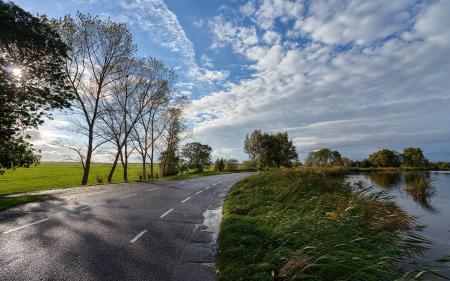 Заставки дорога, река, пейзаж