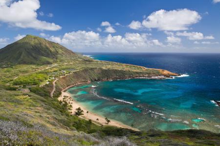 Обои Hanauma Bay, Oʻahu Island, Hawai, Залив Ханаума