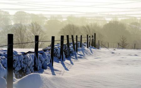 Заставки забор, зима, природа, пейзаж