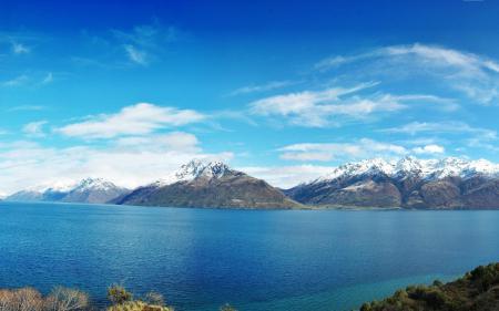Фото Новая Зеландия, панорама, небо, озеро