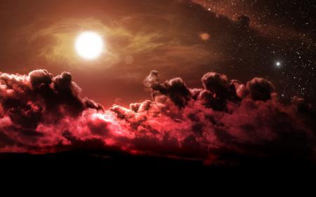Фото фантастика, солнце, облака, красный