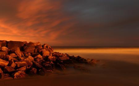 Картинки закат, море, камни