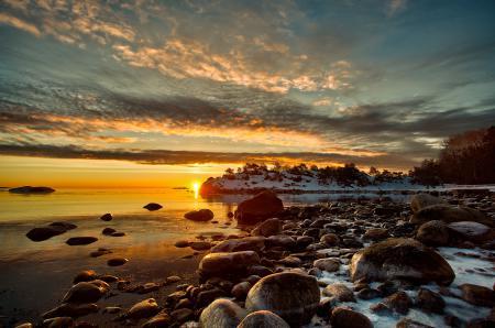 Заставки небо, закат, солнце, залив