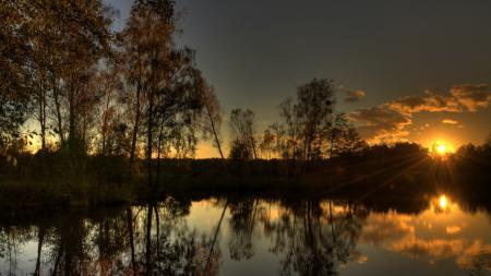 Обои закат, вечер, озеро, лес
