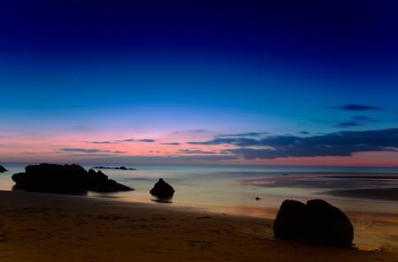 Обои небо, море, закат, камни