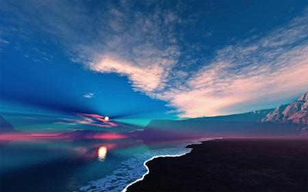 Заставки море, берег, рассвет, солнце
