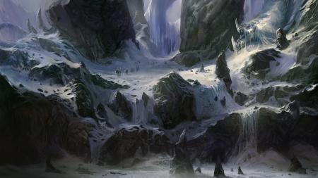 Фото арт, горы, снег, путники