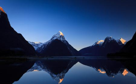 Картинки горы, озеро, отражение, рассвет