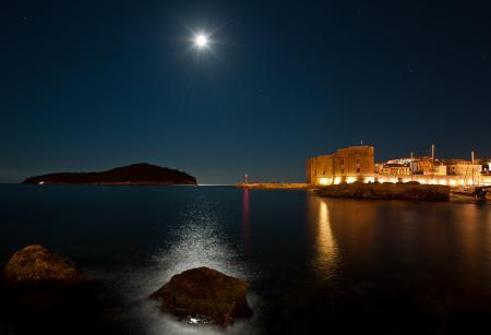 Фото ночь, луна, свет, дорожка