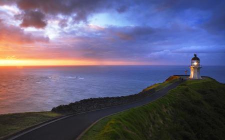 Фото море, закат, маяк, дорога