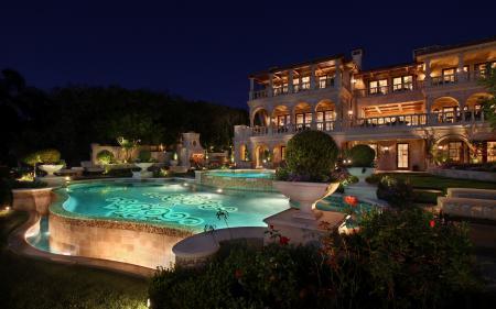Картинки дом, бассейн, ночь, освещение