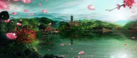 Фото арт, yingzhiping, азия, озеро