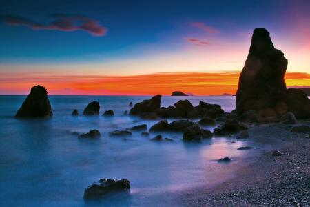 Заставки закат, вечер, море, скалы