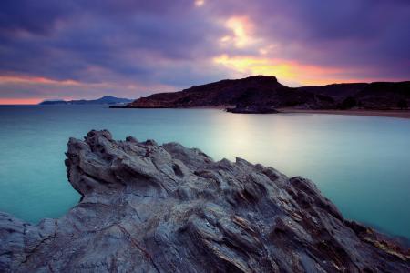 Фото небо, закат, море, скалы