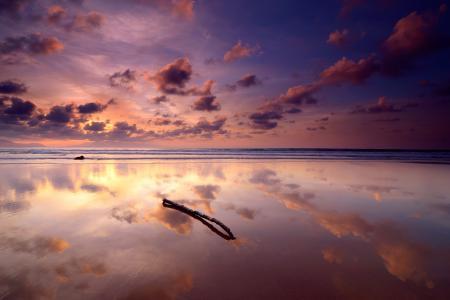 Картинки море, небо, облака, отражение