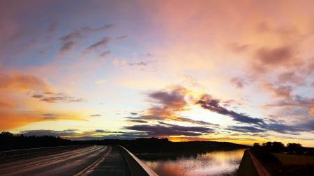Фото Пейзаж, Солнце, Закат, Дорога