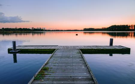 Заставки озеро, мост, закат, пейзаж