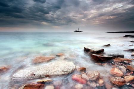 Обои море, ночь, маяк, пейзаж