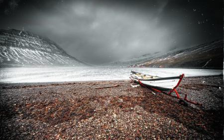 Картинки озеро, горы, лодка, пейзаж