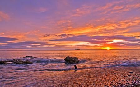 Фото море, скалы, закат, пейзаж
