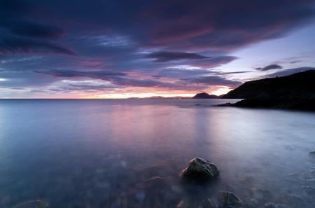 Картинки море, закат, камни, пейзаж