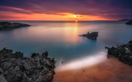Картинки море, скалы, закат, пейзаж