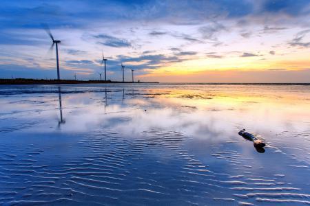 Фотографии море, ветряки, закат, пейзаж