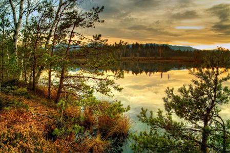 Заставки река Австрия, побережье, пейзаж, HDR