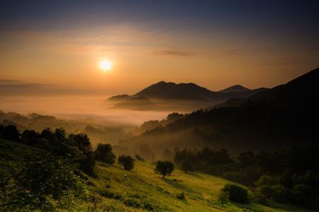 Заставки утро, горы, туман, пейзаж