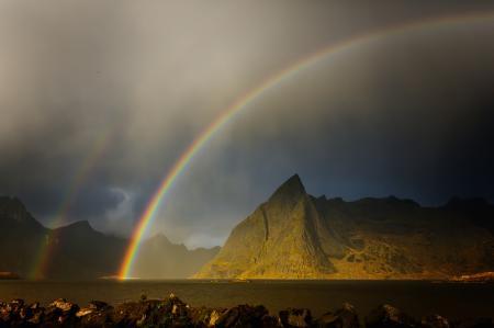 Фото горы, радуга, природа, долина