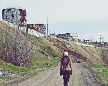 Фотографии человек, девушка, окраины, завод