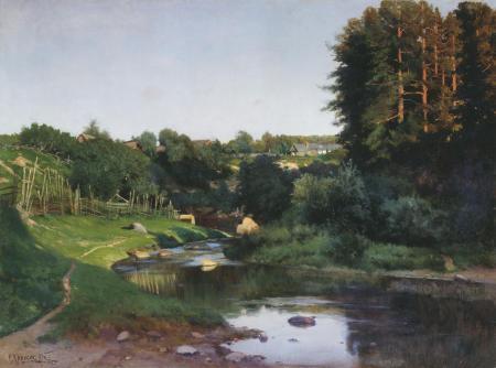 Фото Крыжицкий, Деревня на берегу речки, картина
