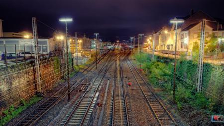 Фото поезда, пути, hdr