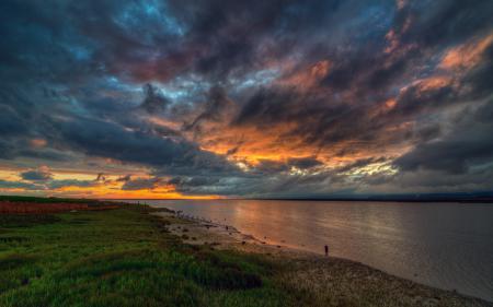 Картинки море, гладь, небо, закат
