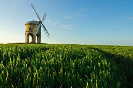 Фото поле, трава, небо, мельница