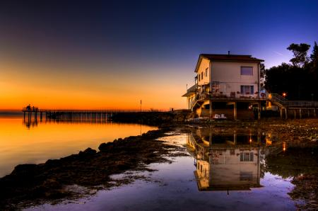 Фотографии озеро, берег, дом, закат